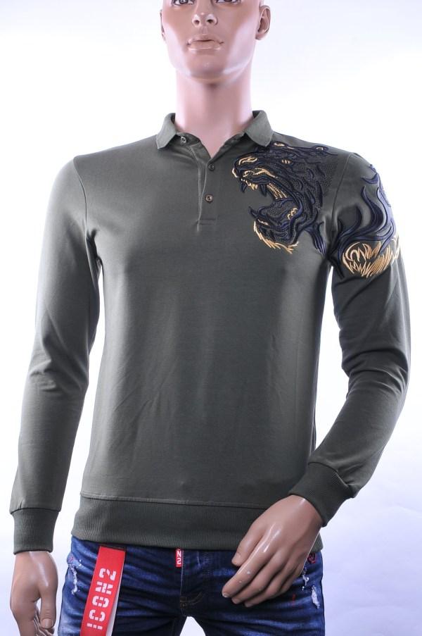 Ci-Borg/Les Designers trendy heren Poloshirt met geborduurde tijgerkop, C338/L398 Khaki