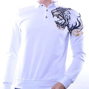 Ci-Borg/Les Designers trendy heren Poloshirt met geborduurde tijgerkop, C338/L398 Wit