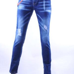 ICON2 hippie gescheurde slim fit heren spijkerbroek, I123 Blauw