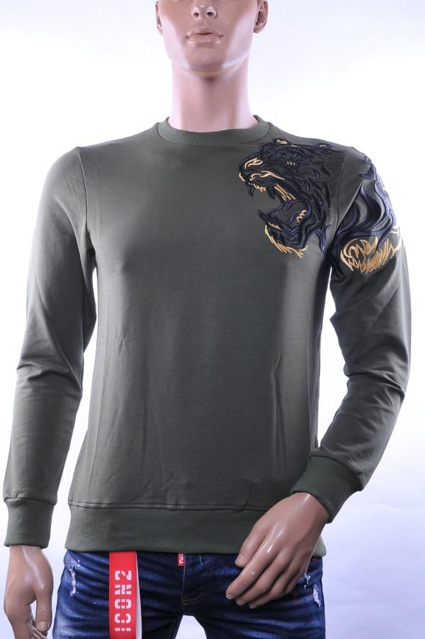 Les Designers trendy heren trui met geborduurde tijgerkop, L369 Khaki
