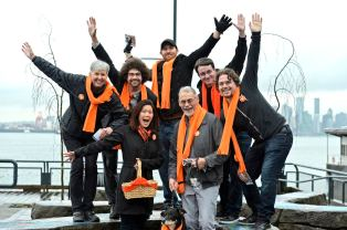 Michael and Bowinn Ma, candidate for North Vancouver-Lonsdale, with volunteers campaigning at the sea bus terminal. on Friday morning, April 7th, 2017