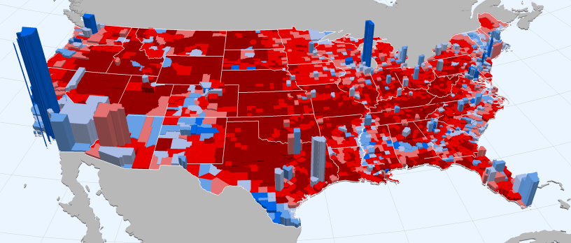 2016 Election in Maps: 3D County Map of Votes – Charted ...