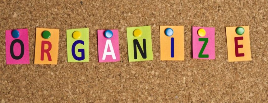Letters of Organize on a pinboard