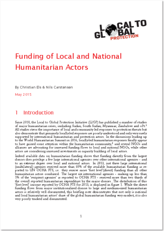 Funding of Local and National Humanitarian Actors: Local to Global Protection