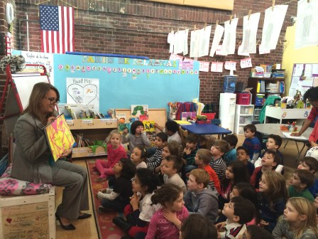 Edna Rios, of Valley National Bank, visits with the Kindergarten class at Hoboken's HOLA, Dual Language Charter School.