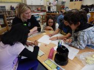Tara DiLullo, of Pershing, in a 4th grade math class at Learning Community Charter School, in Jersey City.