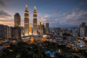 Petronas Twin Tower and downtown area of Kuala Lampur