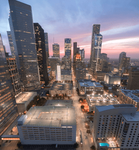 The Beautiful Downtown area of Houston Texas during sunset