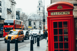 London is often depicted with a red telephone booth.