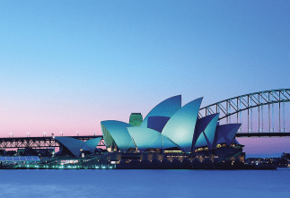 The Sydney Opera House is a multi-venue performing arts center at Sydney Harbor.