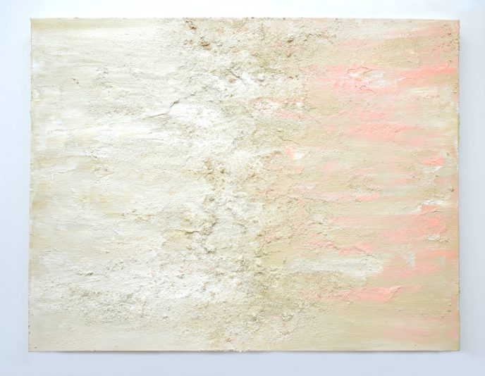Abstract Acrylic Painting Cream White Pink Glitter