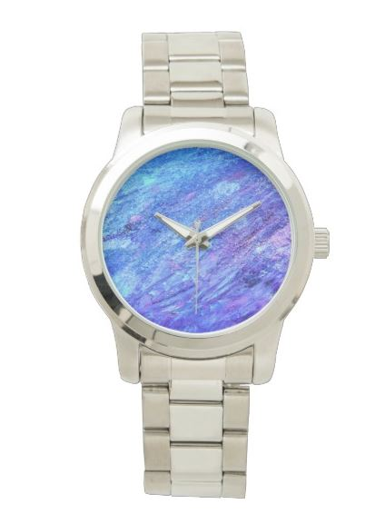 Blue and Purple Abstract Painting Silver Watch