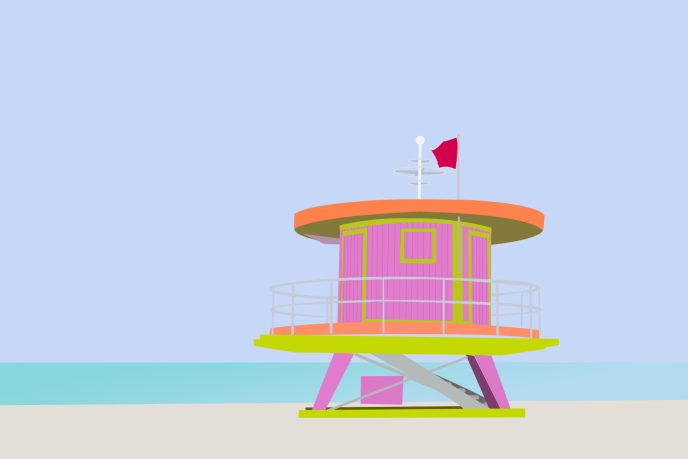 Miami Lifeguard Tower Illustration