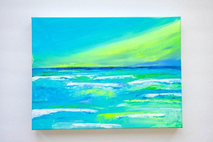 Beach Acrylic Painting Green Sky