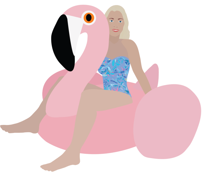 Flamingo Pool Float Illustration