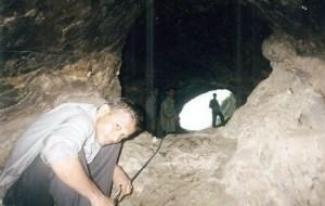 Anand Shinde inside Cave. Cave on Irshalgad fort, near Panvel, Maharashtra