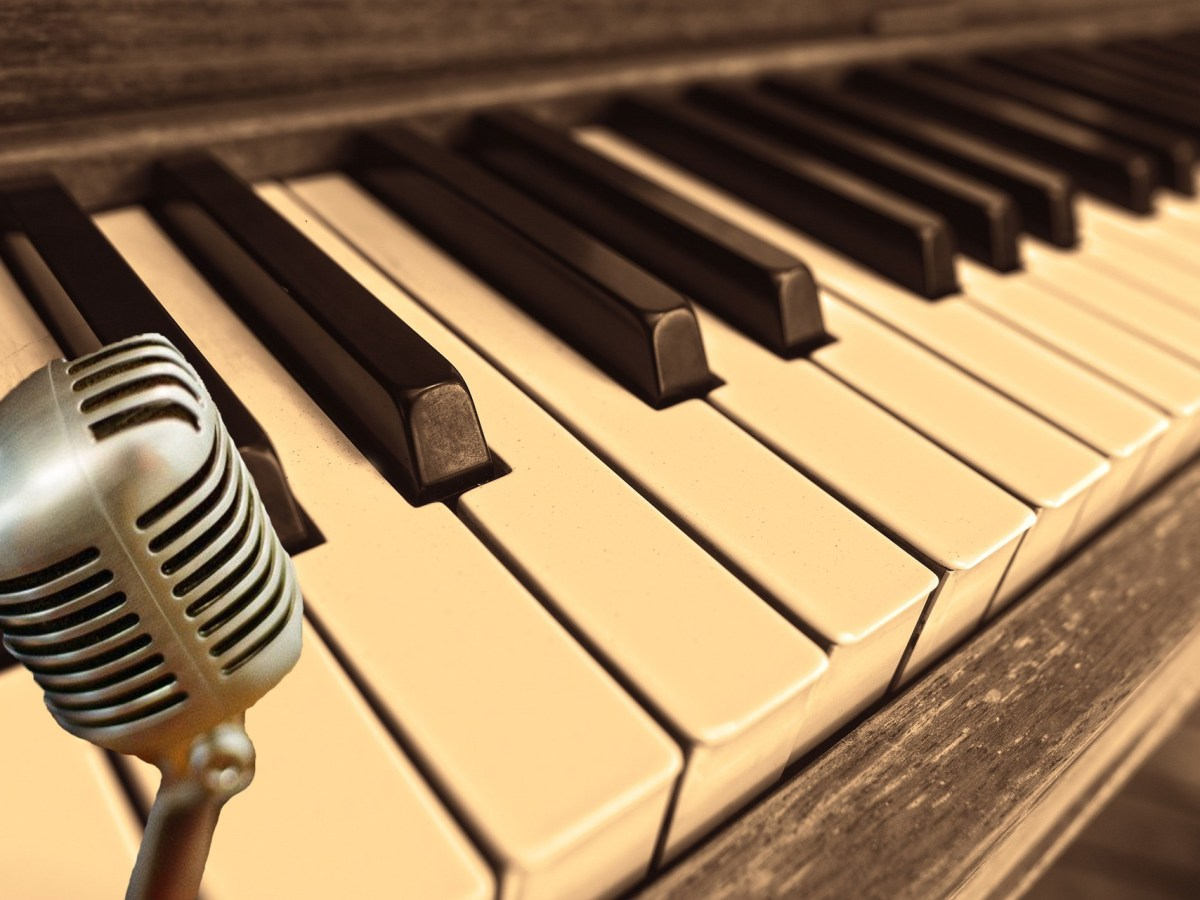 Vintage Piano and Microphone