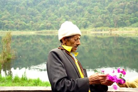 Priest at lake