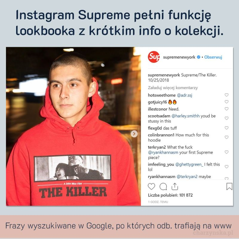 Case Study Supreme - cz. 2 Marketing - profil instagram