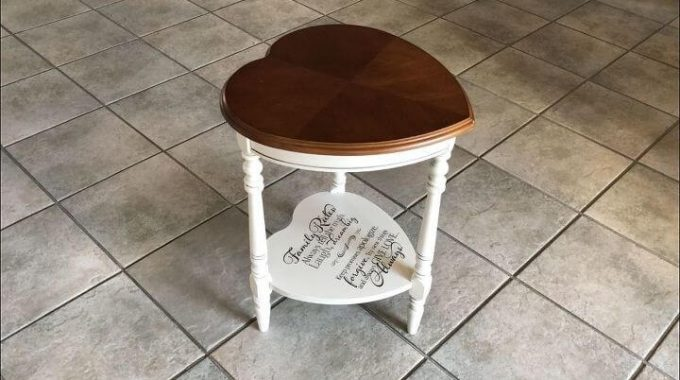 Upcycled Thrift Store Heart Table by Chas' Crazy Creations