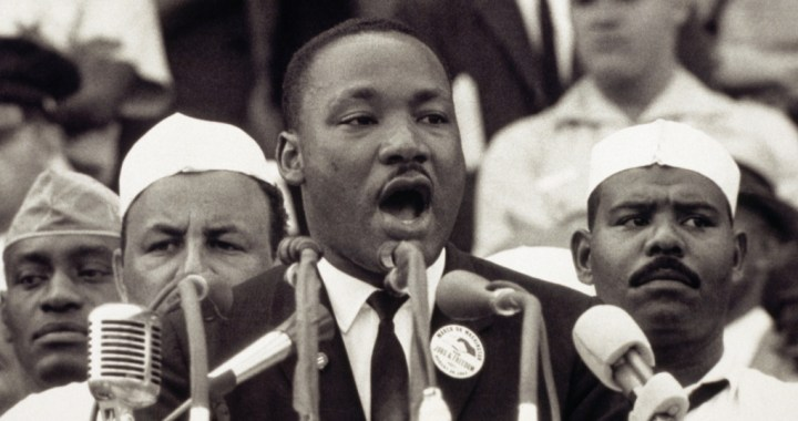 Photo of Dr. King addressing the crowd at the March on Washington, delivers his famous I Have a Dream speech.