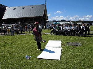 六呂師高原アルプス音楽祭2014 まず一礼をして精神統一するふみんちゅさん/どこまでもアマチュア