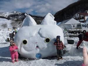 さかだに雪まつり 雪像づくりコンクール ジバニャンの雪像/どこまでもアマチュア