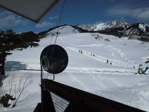 さかだに雪まつり 妻平ヒュッテ北東方面へ向けたトランペットスピーカー/どこまでもアマチュア