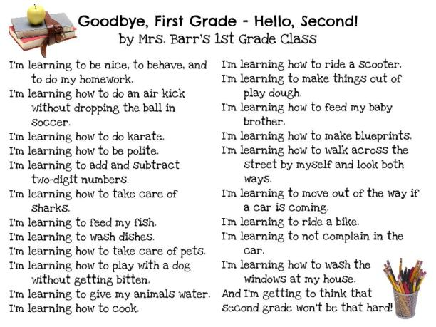 Goodbye 1st Grade, Hello 2nd by Mrs. Barr's Class