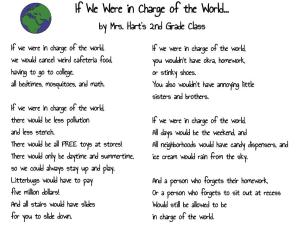 If We Were in Charge of the World... by Mrs. Hart's 2nd Grade Class