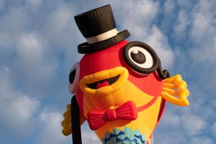 Photo is of a hot air balloon - a fish with a top hat.