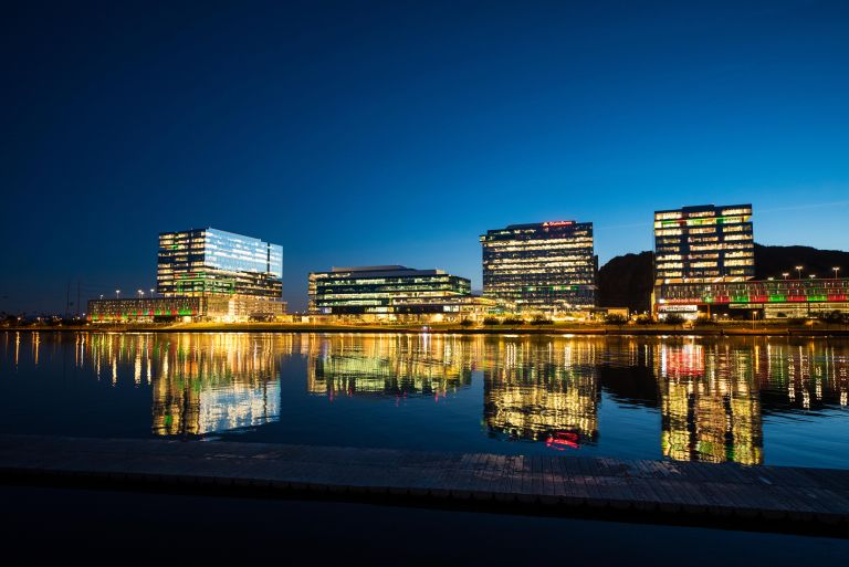 TownLake_Skyline_LightsOn_Sunset