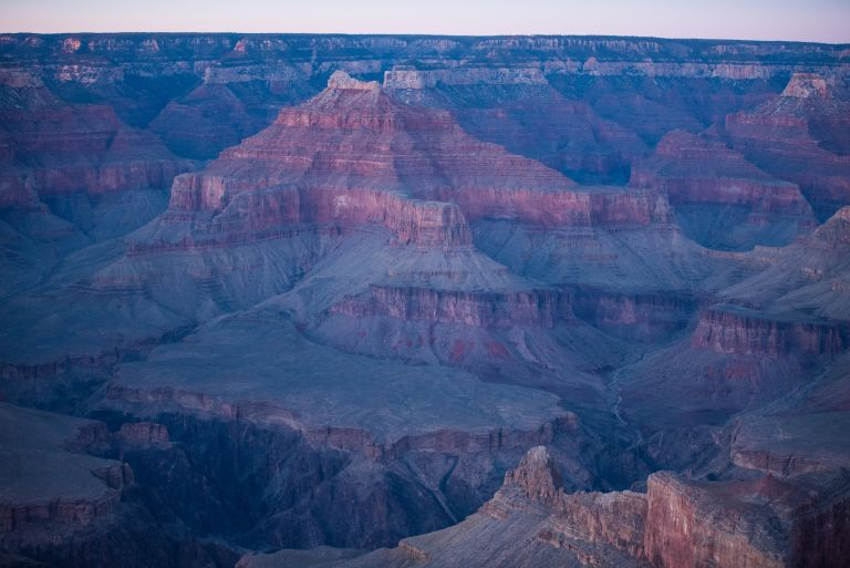 A wide angle view of the breadth of the Grand Canyon.