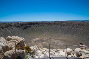 The Meteor Crater from the topmost observation point near the telescope.