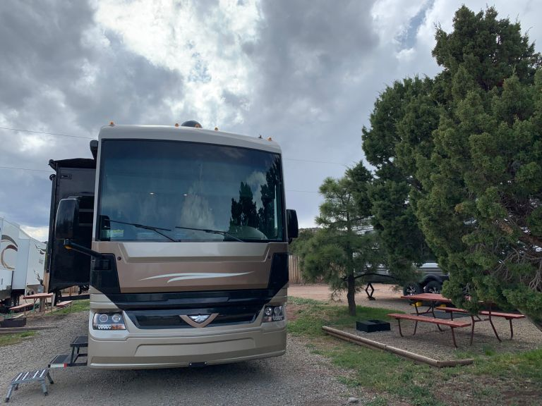 Our RV set up in the campground.