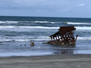 A closer look at the Peter Iredale shipwreck.