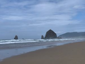 A closer view of Haystack Rock and the Needles from a walk down the beach.