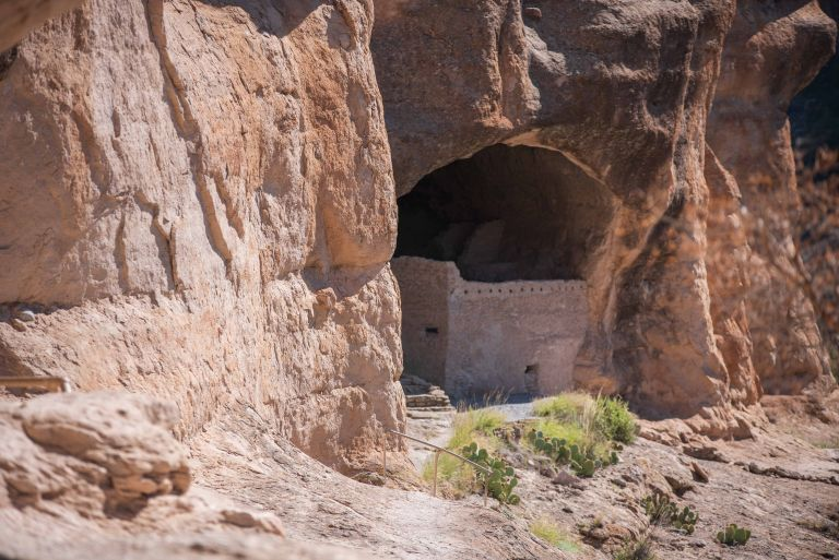 Just about at the stairs to go up into the cliff dwellings.