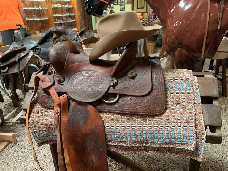 They had a western/cowboy section with saddle displays. This one caught my eye with the artfully cocked cowboy hat.