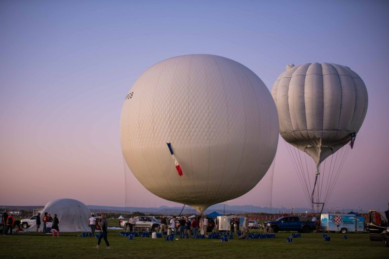 Some sunset glow on the inflated gas balloons.