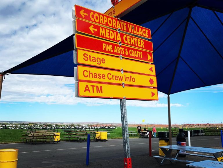 The colorful signage pointing to several important areas.