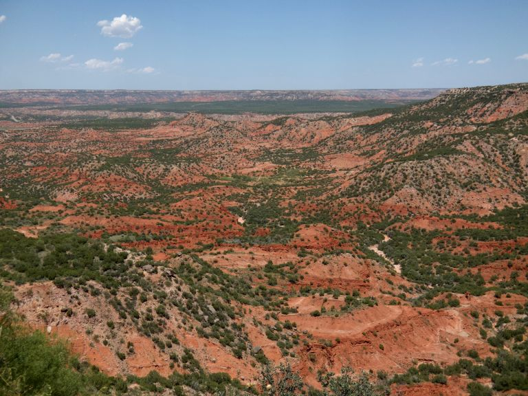 Landscape view with trees and red rock canyons.