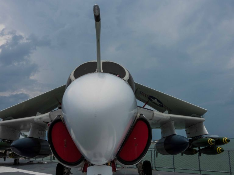 The A-6E Intruder from the front.