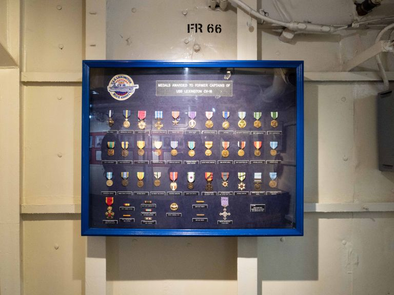 Medals in a case.