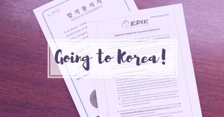 Going to Korea!
