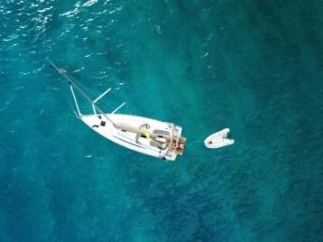 Die Drohne durfte einmal übers Boot fliegen.
