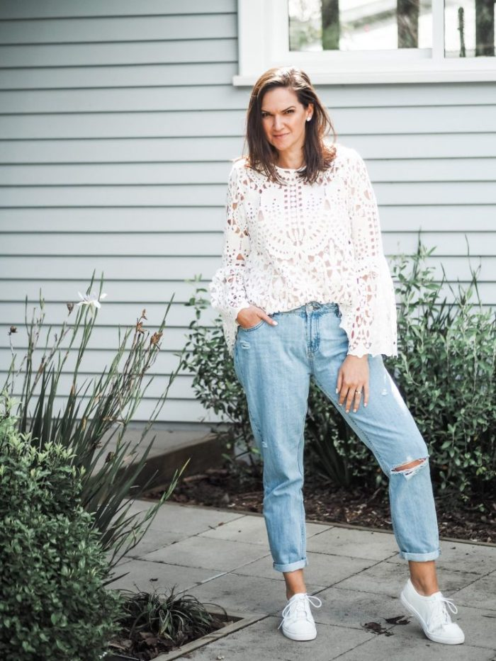 The Warehouse mom jeans with a witchery lace top