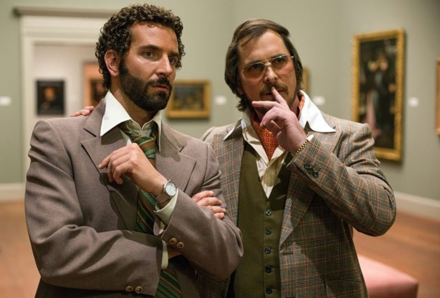 Christian Bale and Bradley Cooper in American Hustle.