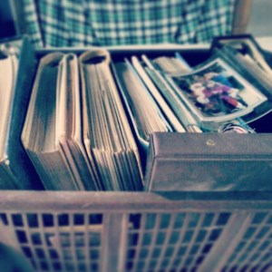 Dusty old photo albums. They need a new spot.
