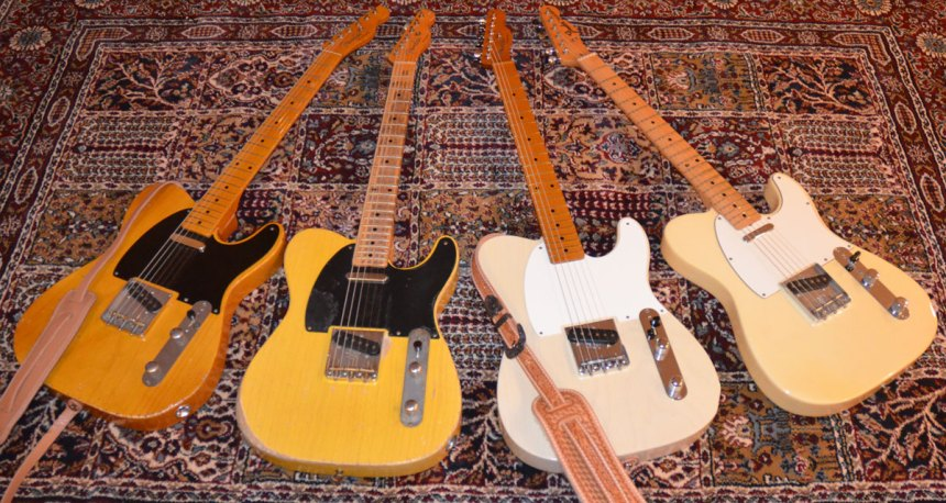 "1950 Broadcaster Tribute, 1953 Roy Buchanan ""Nancy"" Tribute, 1955 Esquire Tribute, 1971 Vintage Fender Telecaster"
